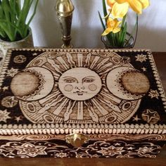 The Sun, Moon and Wishing Stars shine brightly around this beautifully pyrographed wooden box. This box measures 3 inches tall, 8 inches Wood Burning Crafts, Wood Burning Patterns, Wood Burning Art, Wood Crafts, Fun Crafts, Diy And Crafts, Arts And Crafts, Moon Painting, Painting On Wood