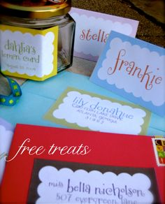 colorful, scalloped labels...perfect for mailing labels, gift tags, place cards, address stickers, etc.