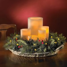 The Remote Controlled Prelit Holiday Centerpiece - Hammacher Schlemmer 100 Christmas Table Centerpieces, Christmas Tablescapes, Christmas Mantels, Christmas Candle, Silver Christmas, Diy Christmas Tree, Country Christmas, Xmas Decorations, Christmas Holidays