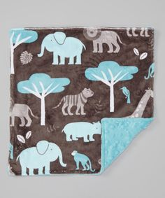 Look what I found on #zulily! Lolly Gags 19'' x 19'' Topaz & Dark Charcoal Minky Blanket by Lolly Gags #zulilyfinds