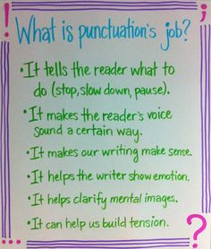 What is punctuation's job? The periods, commas, and questions marks, etc. all tell us something different for reading/writing...