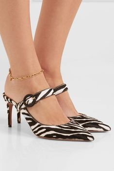 Heel measures approximately 3 inches Black and white calf hair Slip on Made in ItalySmall to size. Crazy Shoes, Me Too Shoes, Senso Shoes, Cool High Heels, Stiletto Heels, Shoes Heels, Fashion Heels, Trendy Shoes, Comfortable Shoes