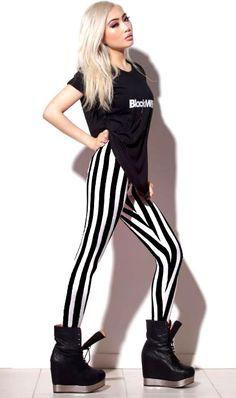 Black Milk Clothing Beetlejuice Leggings. Those wedges are unreal!