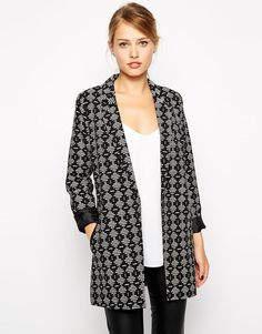 Oasis | Oasis Geo Print Longerline Jacket at ASOS