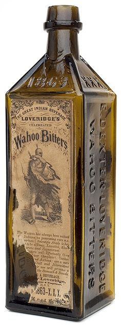 """E. DEXTER. LOVERIDGE / WAHOO BITTERS - (motif of eagle) - E. DEXTER. LOVERIDGE / WAHOO BITTERS - DWD - 1863 - XXX - PATD"" (with 85% original front and back labels), America, 1863 – 1875. Medium to deep yellowish olive amber, semi-cabin, applied sloping collar with band - smooth base Old Medicine Bottles, Antique Glass Bottles, Vintage Bottles, Bottles And Jars, Glass Jars, Vintage Packaging, Vintage Labels, Vintage Ads, Harry Potter Fiesta"