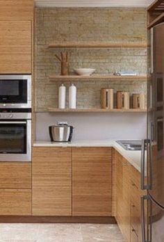 """Vertical grain bamboo cabinets. Grain running horizontally. Color is carmelized or """"carbonized"""""""