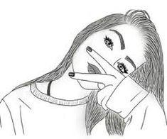 19 Ideas drawing kawaii girl sketch for 2019 Outline Drawings, Cool Art Drawings, Pencil Art Drawings, Art Drawings Sketches, Girl Drawings, Cute Drawings Of Girls, Tumblr Girl Drawing, Tumblr Sketches, Tumblr Art