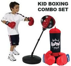 """Kids Authority Children Boxing set - Punching bag with gloves and adjustable 43"""" stand with also Punching Bag & Glove Set BOXING COMBO SET by Kids Boxing Set. $46.99. * Kids Authority Adjustable punching set     * two gloves     * adjustable stand - 30 - to 43""""     * soft pounch bag  # KaPow boxing gloves and bag set # Includes red vinyl padded gloves # Also comes with black and red foam filled punching bag # Bag measures 18"""" tall and includes rope to hang"""