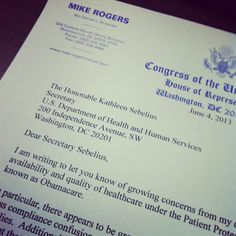 Today I sent a letter to Secretary Sebelius outlining some of the concerns my constituents have about #obamacare. I believe the only answer is a full repeal.