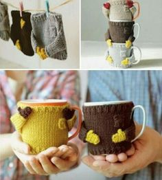 Knitted Sweater Mug Warmer Knitting Projects, Crochet Projects, Knitting Patterns, Sewing Projects, Crochet Patterns, Sweater Patterns, Knitting Tutorials, Stitch Patterns, Crochet Mug Cozy