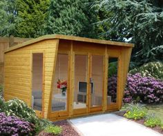 Xzavier 10 x 8 Ft. Shiplap Summer House Sol 72 Outdoor Installation Included: No Corner Summer House, Summer House Garden, Home And Garden, Small Garden Gym, Summer Houses Uk, Small Summer House, Garden Bar, Garden Sheds, Backyard Office