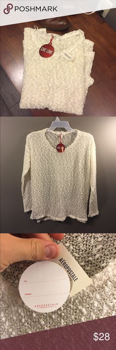 🎁 Aeropostale Cream Sheer Sweater W/ GIFT TAG!! Brand new with tags! Gift tag attached! Thank you for looking! Aeropostale Sweaters Crew & Scoop Necks