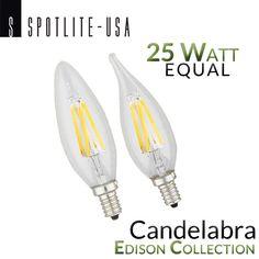 Spotlite USA Edison Collection Vintage LED Filament - E12 Base - Candelabra - 2 Watt - 25 Watt Equal