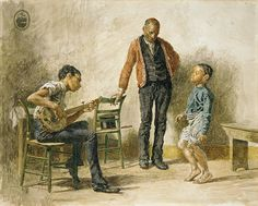 Thomas Eakins (American, 1844–1916). Negro Boy Dancing, 1878. The Metropolitan Museum of Art, New York. Fletcher Fund, 1925 (25.97.1) | This watercolor shows three male figures of different generations playing and responding to music. A framed copy of the famous photograph of Abraham Lincoln and his son Tad suggests the figures' familial relationships and emphasizes their emancipation. - Pinterest