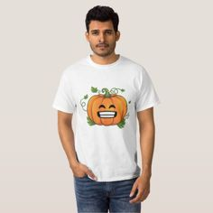 Pumpkin Big Smile Emoji Thanksgiving Halloween Shi T-Shirt - thanksgiving tshirts custom unique happy thanksgiving holiday celebrate