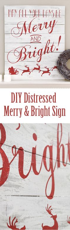 Beautiful Distressed Wood Sign for a Christmas Mantle Decoration. Painted with grey and chalkboard white. Love the red lettering over the faux pallet sign. The Merry and Bright gives such a nice Christmas feel to the sign.