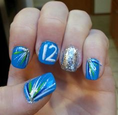 My nails for the 11-3-13 Seahawks game! GO HAWKS!!! Win