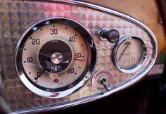 The speedometer, gas gauge and overdrive switch on the the stainless steel instrument panel of Jim Begin's restored 1962 Austin Healey roadster. Car Restoration, Austin Healey, Motor Car, Boats, Instruments, Garage, Stainless Steel, Interior, Style
