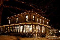 Eastlake Victorian -Good Goods, 106 Mason St, Saugatuck Michigan.  Christmas lights in 2009 photo taken by Ted Swoboda.