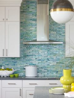 Turquoise Subway Tiles Contemporary kitchen House Home New