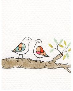 Love Birds Greeting Card Blank Inside with by courtneyoquist