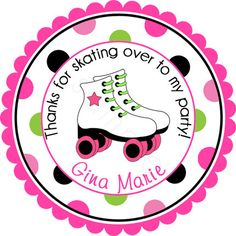 Girls Roller Skate Bash Personalized Stickers  Favor by partyINK, $6.00