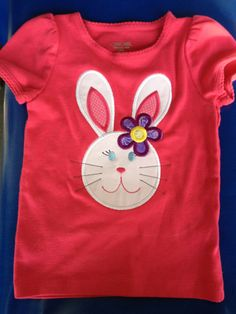 Easter Bunny Applique Shirt - Girl - Toddler - Infant - Baby - Personalized Easter T- Shirt. $20.00, via Etsy.