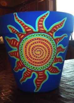 Hand painted flower pot 8 inches tall with sun by nettielouise, $35.00