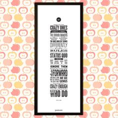Apple's Here's to the Crazy Ones Framed Canvas Print (12 x 30 inch) by EngraveDotIn on Etsy https://www.etsy.com/au/listing/106120376/apples-heres-to-the-crazy-ones-framed