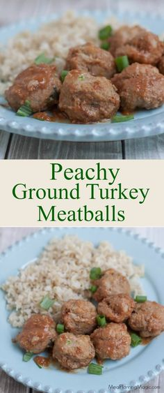 Dinner in under 20 minutes with these delicious and simple Peachy Ground Turkey Meatballs sauteed in a sweet and sour sauce. We like to serve it with steamed brown rice and roasted broccoli. It's a family favorite! http://www.mealplanningmagic.com/peachy-