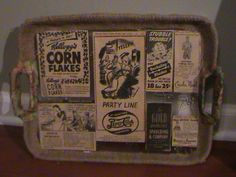 One of a Kind Decorative/Serving Tray 1940's Ads by RadianceReDone http://etsy.me/HSc5A2 via @Etsy