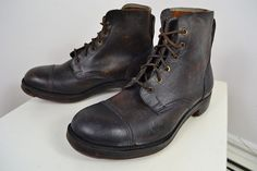 VINTAGE 1940's EDWARDIAN ENGLISH MADE BROWN LEATHER HOBNAIL BOOTS UK SIZE 8