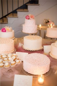kind of like this idea-Instead of a traditional wedding cake, have smaller cakes in a pretty display on a table. Love the varying textures and designs on all the different cakes! Pretty Cakes, Beautiful Cakes, Amazing Cakes, Cake Bars, Cake Table, Dessert Table, Multiple Wedding Cakes, Individual Wedding Cakes, Small Wedding Cakes