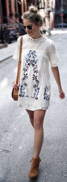 #spring #fashion White Printed Dress & Brown Leather Shoulder Bag & Brown Suede Booties