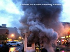 Delaware City Fire Department had a controlled burn during the First Friday event on Sandusky Street in the City of Delaware.  It showcased fire safety.
