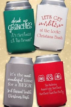 Christmas Party Favors Idea - Neoprene beer can coolers personalized with a festive Christmas design and your own custom message are the perfect take-home favors for your party guests this holiday party season. Christmas Party Decorations, Xmas Party, Holiday Parties, Holiday Fun, Festive, Parties Decorations, Pj Party, Christmas Vacation, Family Christmas