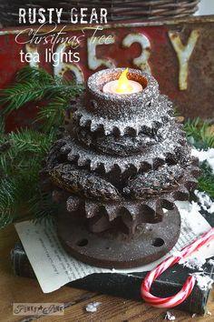 Stacked gear Christmas tree tea lights via www.funkyjunkinte... #easyholidayideas #12day72ideas