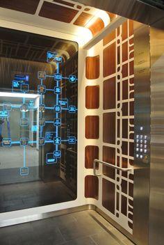 'Dayorama' (No. 3 Networking) lift car interiors at St James Melbourne 555 Bourke Street. Design CarterLeAmon