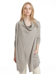 Cashmere Draped Cardigan: can be worn tied at the shoulder, creating a cowlneck or unfastened as a draped cardi.