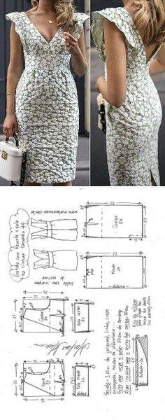 Vestido tubinho com recorte abaixo do busto e decote V | DIY - molde, corte e costura - Marlene Mukai