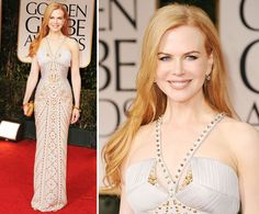"""Best overall look and dress of the whole Golden Globes. Nicole Kidman's dress was not only beautiful, but perfect for her body. It was different/creative with the neckline and cutouts. Her hair is gorgeous, her makeup is gorgeous, and because her dress """"bejewelled"""" her neckline, unlike many others tonight, she looked fabulous with no necklace."""