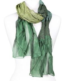 Love this Emerald Smocked Stripe Scarf by Tickled Pink on #zulily! #zulilyfinds