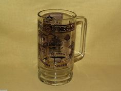 LAS VEGAS MUG BEER STEIN TANKARD CUP VINTAGE GOLD BLACK HOTELS MGM PLAZA SAHARA