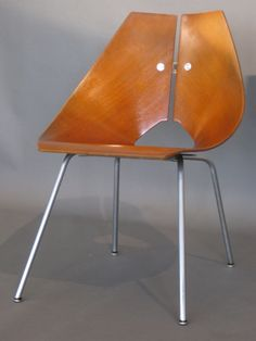 Ray Komai; Molded Plywood and Satin Chromed Steel Side Chair for JG Furniture, 1949.