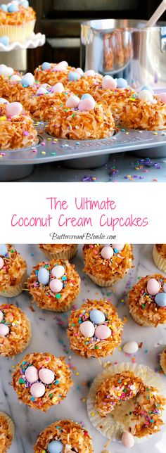 Ultimate coconut Cream Cupcakes - Light coconut cupcakes filled with luscious custard and whipped mascarpone frosting are the ultimate Spring treat! Pavlova, Coconut Cream Cupcakes, Easy Desserts, Delicious Desserts, Cupcake Recipes, Dessert Recipes, Cheesecake Oreo, Caramel, Sauce Creme