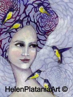 'Safe Haven' Mixed Media Art Prints avail #art #birds #purple #face #girl #whimsical #art #mixedmedia