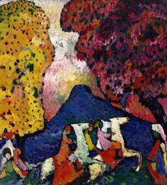 Vasily Kandinsky, Blue Mountain, 1908–09. Oil on canvas, 41 3/4 x 38 inches (106 x 96.6 cm)