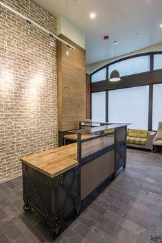 Reception Desk, Metal & Wood Desk, Reclaimed Beetle Kill Wood, Industrial Desk, Custom Desk, L Shaped Desk