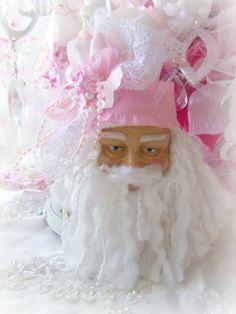 Shabby Chic ~ Rose Pink Santa Ornament ~ Arrangement Bouquet  / Olivia's Romantic Home