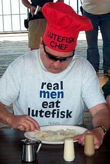 Try the lutefisk!  I believe lutefisk's literal translation is rotten cod soaked in plutonium.